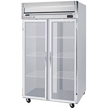 Beverage-Air HFPS2-1G Horizon Series 52 inch Glass Door All Stainless Steel Reach-In Freezer with LED Lighting