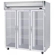 Beverage-Air HFPS3-5G Horizon Series 78 inch Glass Door All Stainless Steel Reach-In Freezer with LED Lighting