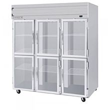 Beverage-Air HFPS3-5HG 3 Section Glass Half Door Reach-In Freezer - 74 cu. ft., Stainless Steel Exterior / Interior - Specification Series