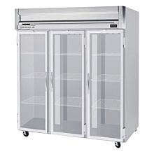 Beverage-Air HFS3-5G 3 Section Glass Door Reach-In Freezer - 74 cu. ft., Stainless Steel Front, Gray Exterior, Stainless Steel Interior