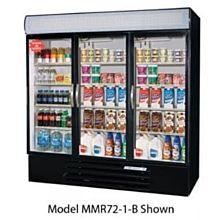Beverage-Air MMF72-5-B-LED Black Marketmax 3 Glass Door Merchandising Freezer with LED Lighting and Swing Doors - 72 Cu. Ft.