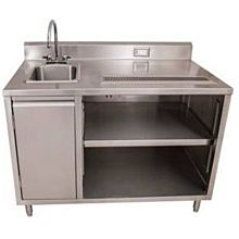 "BK Resources BEVT-3048L 48""x30"" Stainless Steel Beverage Table w/ Sink on Left"