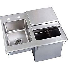 """BK Resources BK-DIBHL-2118 21""""Wx18""""Dx12""""D Stainless Steel Drop-In Ice Bin with Sink"""