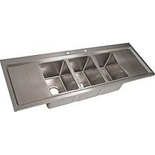 "BK Resources BK-DIS-1014-3-12T-PG Three Compartment 58-1/8"" Stainless Steel Drop-In Sink"