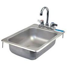 "BK Resources BK-DIS-1014-5D-P-G One Compartment 12-1/4""""x18"" Stainless Steel Drop-In Sink"
