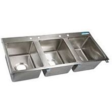 "BK Resources BK-DIS-1620-3 Three Compartment 56""x25"" Stainless Steel Drop-In Sink"