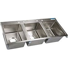 "BK Resources BK-DIS-1620-3-P-G 58"" (3) 16""x20"" Compartment Drop-in Sink w/ Drainboards"