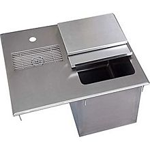 "BK Resources BK-DIWSBL-2118G 21""W Stainless Steel Drop-In Ice Bin with Water Station"