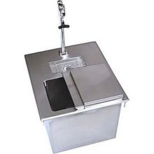 "BK Resources BK-DIWSBL-2118X-P-G 18""W Stainless Steel Drop-In Ice Bin with Water Station"