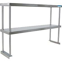"""BK Resources BK-OSD-1236 36""""W x 12""""D 18G Stainless Steel Table-Mount Double Overshelf"""