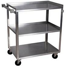 "BK Resources BKC-1524S-3S 15-1/2""W x 24""D 3-Tier Stainless Steel Utility Cart"