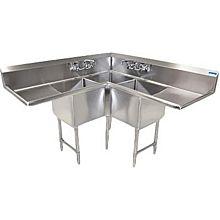"BK Resources BKCS-3-18-14-18T 57""W x 23-1/2""D Three Compartment Corner Sink"