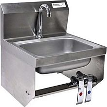 BK Resources BKHS-D-1410-1-BKK-PG Wall Mount Hand Sink With Deck Mount Faucet And Knee Valve