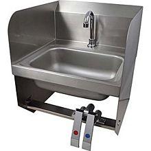 "BK Resources BKHS-D-1410-1SSBKKPG 14""W Wall Mount Hand Sink w/ Faucet, Knee Valve & Splashes"