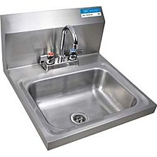 "BK Resources BKHS-D-1410-P-G Wall Mount Hand Sink 14x10x5 - 4"" Deck Mount Faucet LOW LEAD"