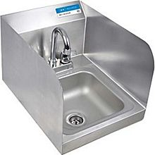 BK Resources BKHS-D-SS-SS-P-G Stainless Hand Sink with Faucet Drain & Side Splash NSF