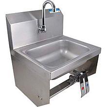"BK Resources BKHS-W-1410-1-BKKPG 14""W Wall Mount Hand Sink w/ 3-1/2"" Gooseneck Spout Faucet"