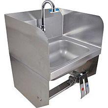 "BK Resources BKHS-W-1410-1SSBKKPG 14""W Wall Mount Hand Sink w/ 3-1/2"" Gooseneck Spout Faucet"
