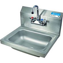 "BK Resources BKHS-W-1410-P-G Wall Mount S/s Hand Sink 14""x10""x5"" Bowl w/ Drain & Faucet"