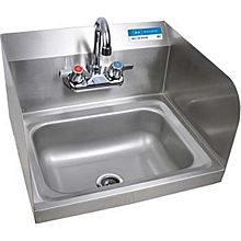 "BK Resources BKHS-W-1410-SS-P-G Wall Mount Hand Sink 14""x10"" Bowl w/ Side Splash & Faucet"