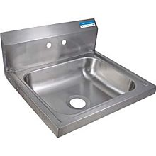 "BK Resources BKHS-W-1620 Wide Stainless Wall Mount Hand Sink 16"" x 20"" Bowl w/ Drain"