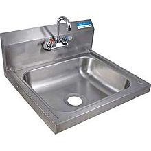 "BK Resources BKHS-W-1620-P-G 20""W Wall Mount Hand Sink 3-1/2"" Gooseneck Spout Faucet"