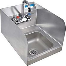 """BK Resources BKHS-W-SS-SS-P-G Stainless Hand Sink 12""""x16"""" w/ Faucet, Drain & Side Splashes"""
