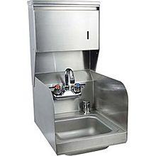 "BK Resources BKHS-W-SS-SS-TD-P-G 9""x9"" Hand Sink w/ Faucet, Splash Guard, Towel, & Soap Disp."