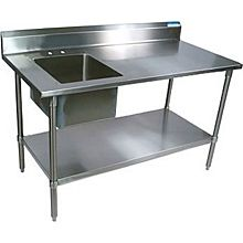"BK Resources BKPT-3060S-R-P-G 60""x 30"" Prep Table w/ 18G S/s Right Sink and 6"" Backsplash"