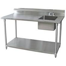 "BK Resources BKPT-3072G-R-P-G 72""Wx30""D Stainless Steel Prep Table w/ Right Side Sink"