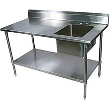 "BK Resources BKPT-3072S-R 72""Wx30""D Stainless Steel Prep Table w/ Right Side Sink"