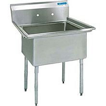 """BK Resources BKS-1-1620-12 1 Compartment Stainless Sink NSF w/ 16"""" x 20"""" x 12"""" D Bowl"""