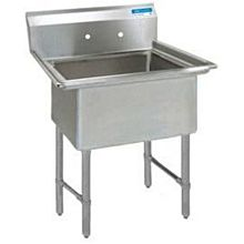 "BK Resources BKS-1-18-12S 18""x18""x12"" One Compartment Sink w/ S/s Legs"
