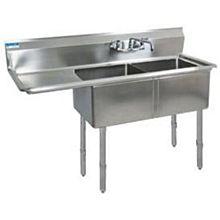 "BK Resources BKS-2-1620-12-18LS Two 16""x20""x12"" Compartment Sink S/s Leg 18"" Left Drainboard"