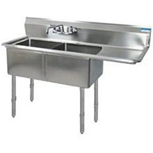 """BK Resources BKS-2-1620-12-18RS Two 16""""x20""""x12"""" Compartment Sink S/s Legs Drainboard Right"""