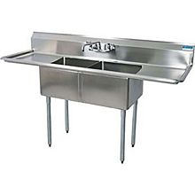 "BK Resources BKS-2-1620-12-18T Two Compartment S/s Sink 16""x20""x12""D Bowls w/ 2 Drainboards"
