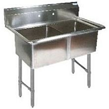 "BK Resources BKS-2-1620-12S Two 16""x20""x12"" Compartment Sink w/ S/s Legs"
