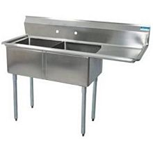 """BK Resources BKS-2-24-14-24R (2)24""""x24""""x14""""D Compartment Sink- Right Drainboard Stainless"""