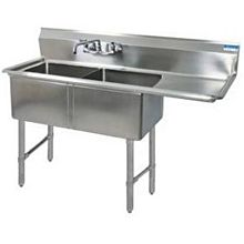 """BK Resources BKS-2-24-14-24RS Two 24""""x24""""x14"""" Compartment Sink S/s Legs Drainboard Right"""
