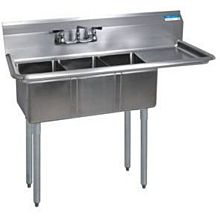 "BK Resources BKS-3-1014-10-15R 47-1/2""Wx19-13/16"" (3) Compartment Convenience Store Sink"