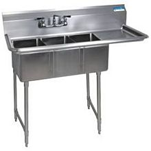 "BK Resources BKS-3-1014-10-15RS (3) 10""x14""x10"" Compartment Sink S/s Leg Right Drainboard"