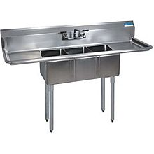 "BK Resources BKS-3-1014-10-15T 60""Wx19-13/16"" (3) Compartment Convenience Store Sink"