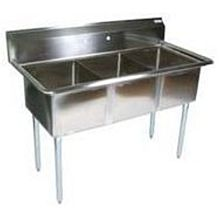 BK Resources BKS-3-1620-12 Three Compartment Sink 16 x 20 x 12 Bowls No Drainboards