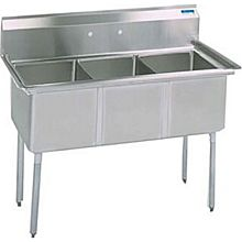 "BK Resources BKS-3-18-12 3 Compartment Stainless Sink 18"" x 18"" x 12"" Deep Bowls"