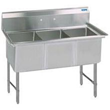 "BK Resources BKS-3-18-12S 59""W Three Compartment S/s Sink 12"" Deep w/ S/s Legs"