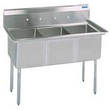 """BK Resources BKS-3-24-14S 77""""W Three Compartment S/s Sink 14"""" Deep w/ S/s Legs"""