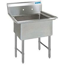 """BK Resources BKS6-1-1620-14S 16""""x20"""" One Compartment 16 Gauge Stainless Steel Sink"""