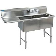 """BK Resources BKS6-2-1620-14-18LS 54""""x25.5"""" Two Compartment 16 Gauge Stainless Steel Sink"""