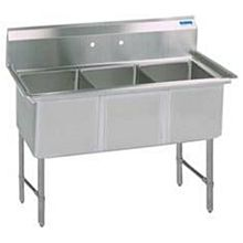 "BK Resources BKS6-3-1620-14S 53""x25.5"" Three Compartment 16 Gauge Stainless Steel Sink"