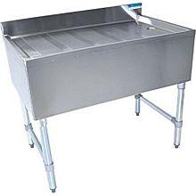 """BK Resources BKUBD-48-18S 48""""W x 18-1/4""""D Stainless Steel Underbar Drainboard"""